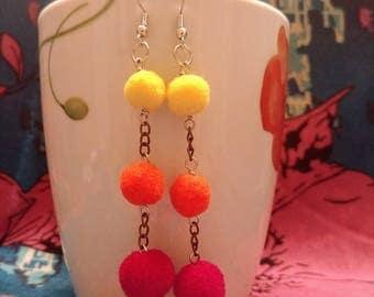 Sunrise Pompom Dangle Earrings