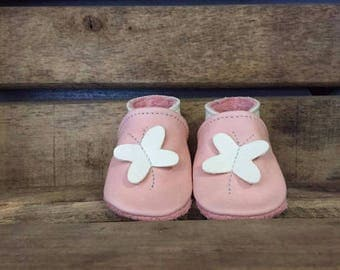 Butterfly slippers kids leather - multiple colors and sizes available