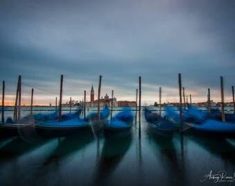 Fine Art Photography Print - Gondolas at Sunrise in Venice, Italy
