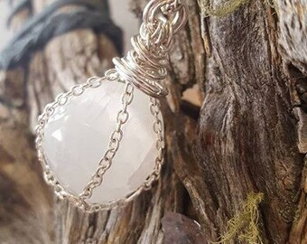 Chain cage necklace with Selenite sphere