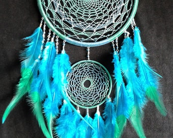 Dreamcatcher Forest Dream catcher Green White Violet House Nursery  Bedroom decor Mobile Feathers Bohemian Wall hanging Wedding Boho Decor