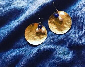 """brass earrings """"white/blue"""" summer night """"in brass"""