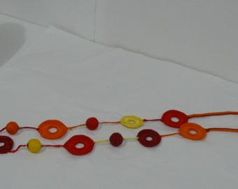 ornage, yellow and Red cotton necklace