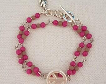 Wrap bracelet beads Pinky Pink/Stonewash Tawny