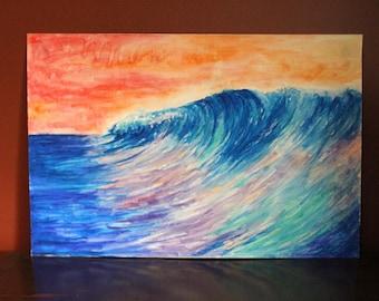 "Wave, original watercolour 12x18"""