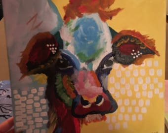 Handpainted Abstract Cow on Canvas