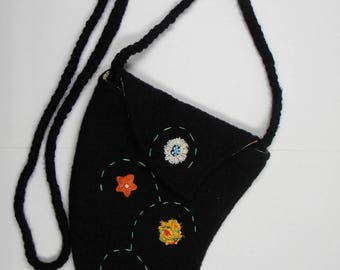 shoulder bag black boiled wool, decorated by hand