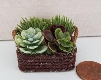 Miniature Basket of Flowers, Dollhouse Flowers, Succulents, Greenery, Plant, Dollhouse Miniatures, Dollhouse Accessory, Handmade