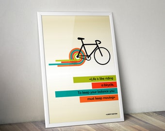 Printable Bicycle Wall Art Albert Einstein Quote Life is Like Riding a Bicycle Wall Decor