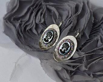 Hematite Cameo Earrings