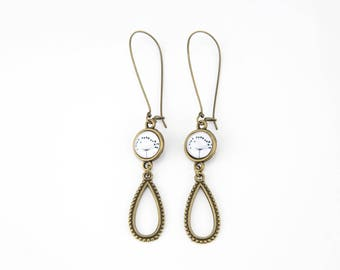 Earrings black and white brass #1398
