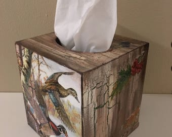Handmade tissue box holder