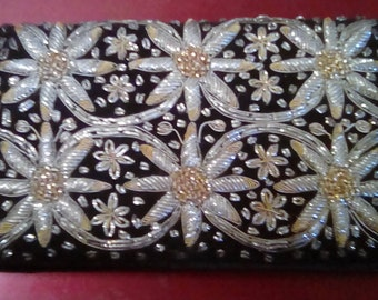 Vintage Black Velvet Embroidered Clutch from India