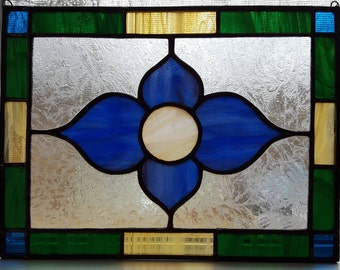 Blue & Yellow Stained Glass Flower