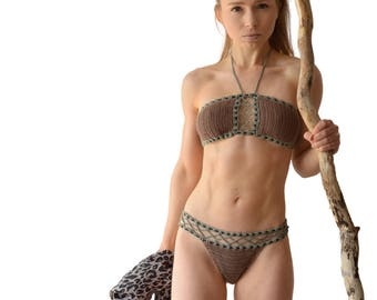 Luxury, handmade crochet bikini - bandeau top with cut-outs, 6 colors, biodegradable fabric