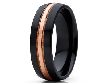 Black Zirconium Wedding Band Milgrain Design Wedding Band Dome Black Ring Men & Women