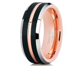 Black Tungsten Wedding Band Rose  Gold Tungsten Ring Men & Women Tungsten Carbide Brush Black Ring Comfort Fit