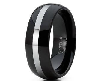 Black Tungsten Wedding  Band Tungsten Wedding Ring Men & Women Shiny Tungsten Wedding Ring Anniversary Ring