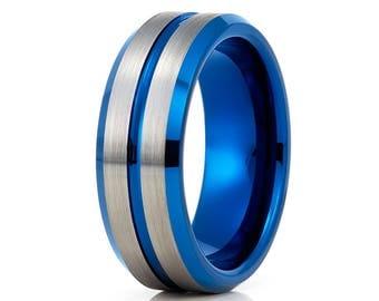 Blue Tungsten Wedding Band Gray Tungsten Wedding Ring Men & Women Blue Tungsten Band Anniversary Ring Brush Ring