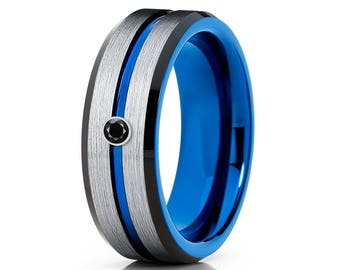 Black Diamond Tungsten Wedding Band Blue Tungsten Ring Men & Women Tungsten Carbide Ring Anniversary Band Silver Brush Ring