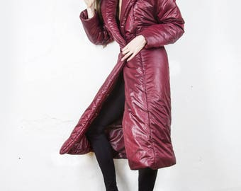Long winter down coat with large hood