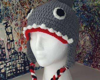 Shark hat, Shark beanie, Kids shark hat, Adult shark hat, Winter hat, Character hat