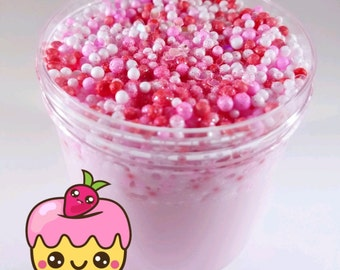Strawberry Shortcake Floam - Strawberry Scented Pink Slime with Pink/Red/White Foam Beads