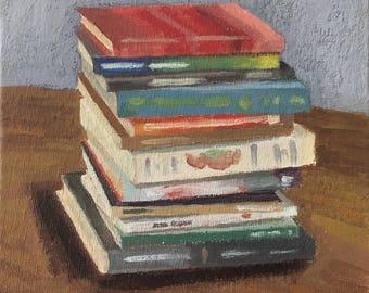 original 6x6 inch acrylic painting books stack anticipation joy