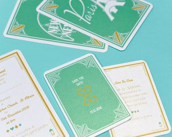 Deco Vegas Mint Green Save the Date