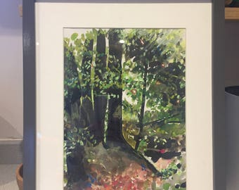 Selborne Hangers,mixed media,oil pastels,ink,autumn,painting