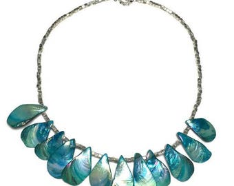 Dyed shell necklace, beach jewelry, tropical necklace, turquoise shell, statement necklace, bold necklace, dyed pearl, under 40 dollars