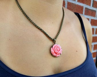 Pretty pink and bronze elegance necklace