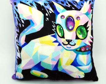 Crystal Cat Decorative Pillow Soft Minky