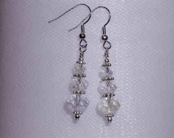Three Tiered Graduated Crystal Glass Faceted Beads With Silver Accents On  Hypoallergenic Hooks
