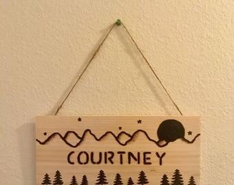 Custom Wood Burned Name Sign