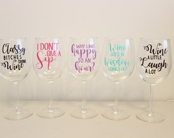 Wine Glass Stickers Etsy - Wine glass custom vinyl stickers