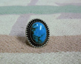 Native American Vintage Sterling Silver And Turquoise Ring Size 7 Signed