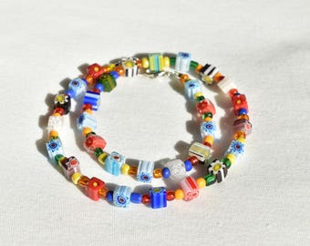 Millefiori Glass Flower Multicolor Necklace / Rainbow Beaded Lampwork Necklace / Patterned Minimalist Glass Necklace / Gift for her