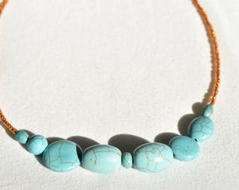 Orange Glass Turquoise Necklace / Plastic Marbled Turquoise Necklace / Synthetic Light Blue Statement Necklace  / Minimalist Gift for Her