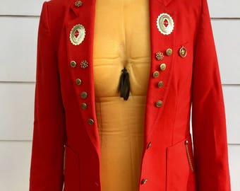 Vintage 80s Red Worthington Western Blazer 100% Wool