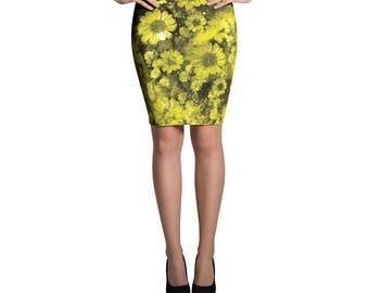 Floral Printed Pattern Bright, Bold, Classic Pencil Skirt, Yellow Flower Skirt, Form Fitting High Waisted Skirt, Knee Length Skirt, Stretchy