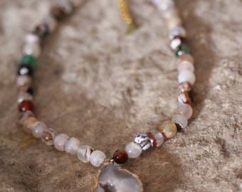 Natural Druzy Quartz Agate Geode Sliced Necklace