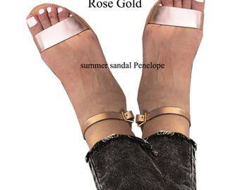 Rose Gold Sandals, Ancient Greek Leather Sandals,women's sandals,sandals, Sandals Wedding Dresses, Golden Sandals, Handmade Sandals, EKAVI