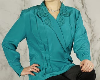 Vintage Deep Teal Blouse Jacket | Double-Breasted Blouse | M