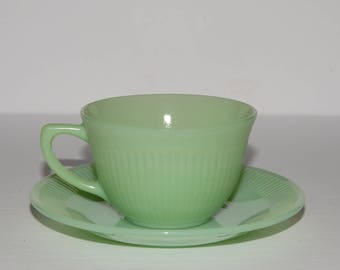 FIRE KING, Jadeite Jane Ray Cup and Saucer, Collectible Fire King, Vintage Fire King, Anchor Hocking, Green Fire King, Fire King Mug