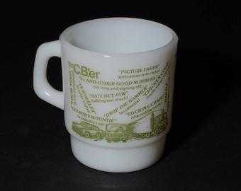 FIRE KING, Vintage, Anchor Hocking, CBer Radio, Trucker, Milk Glass, Red, Coffee Mug, D handle, Coffee mug, Tea Cup, 1970s, Collectible