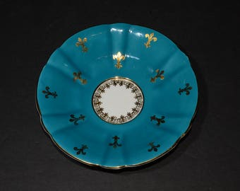 WINDSOR, Bone China, Vintage, turquoise and gold fleur de lis, Saucer Only, Orphan Saucer, replacement, Made in England, blue