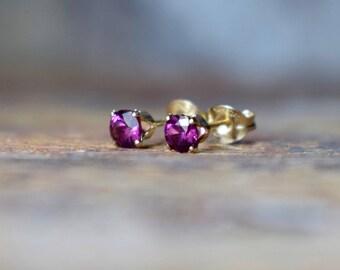 4mm Rhodolite Garnet & 14k Gold Fill Stud Earrings, Garnet Earrings, Purple Pink Gemstone Earrings, Gift for Wife UK