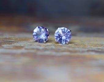 8mm Pink Amethyst & Sterling Silver Stud Earrings, Silver Earrings, Amethyst Earrings, Natural Gemstone Jewelry, Gift for Wife, Mum Gift