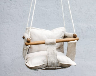 Handmade swing for kids made from natural materials